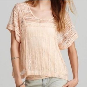 Free People peach lace top size small